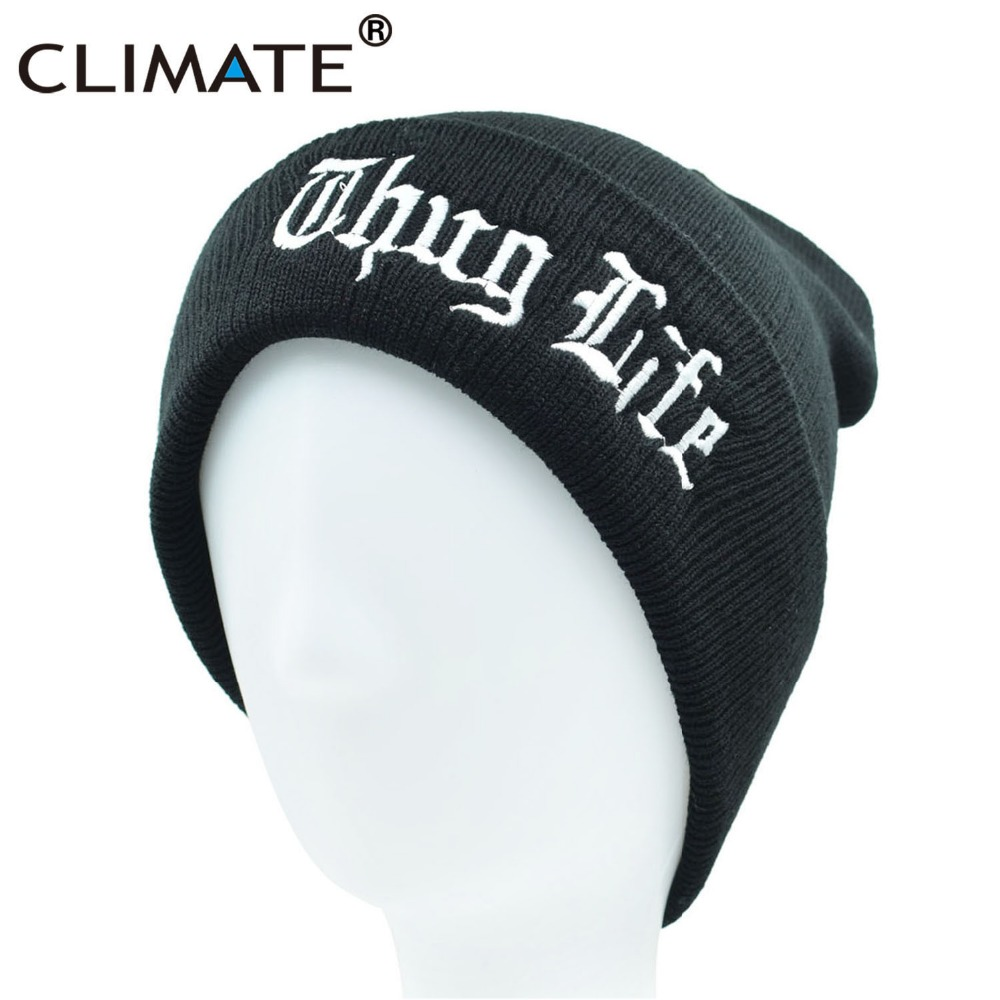 CLIMATE Black THUG LIFE Beanie Hat Winter Warm Knit Skullies Beanie Casual Cool Black Hip Hop Warm Hat For Men Women THUG LIFE
