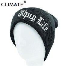 CLIMATE Black THUG LIFE Beanie Hat Winter Warm Knit Skullies