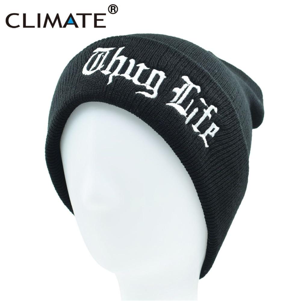 CLIMATE THUG LIFE Beanie Winter Warm Hat Black Knit Skullies Beanie Casual Cool Black Hip Hop Warm Hat For Men Women THUG LIFE