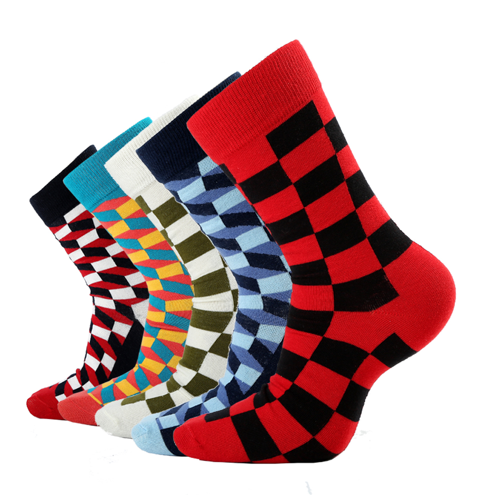 2020 New Hot Sale Casual Men Socks Fashion Design Plaid Colorful Happy Business Party Dress Cotton Socks Man Big Size EUR 38-46