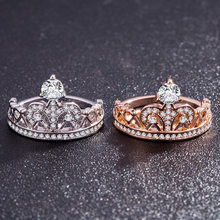 2 Colors High End Crown With Tiny Queen, Princess Ring, Female Personality, Hollow Rose Golden Couple Engagement 925rings 6-10(China)