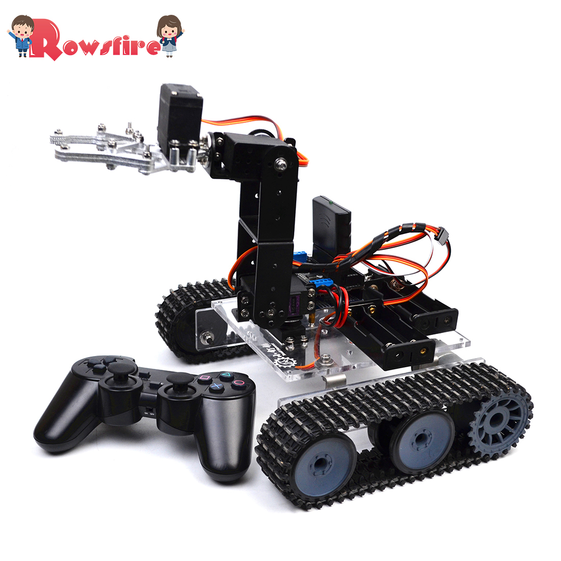 DIY Programmable Tank 4DOF Metal Mechanical Arm Robot Kit (Without Battery)