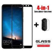 4 in 1 do szkła Huawei Mate 10 20 Lite szkło hartowane P 30 P40 Lite Pro Nova 2i 3i 5T szklany obiektyw aparatu folia ochronna na ekran