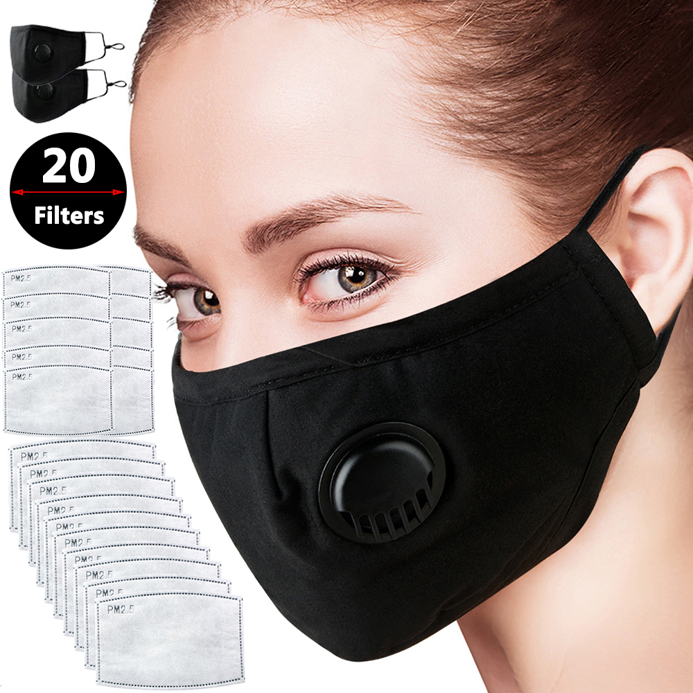 2Pcs Face Mask  Anti Pollution Mask PM2.5 Activated Carbon Filter Insert Black Breathable Valve Anti PM2.5 Breathing Mask
