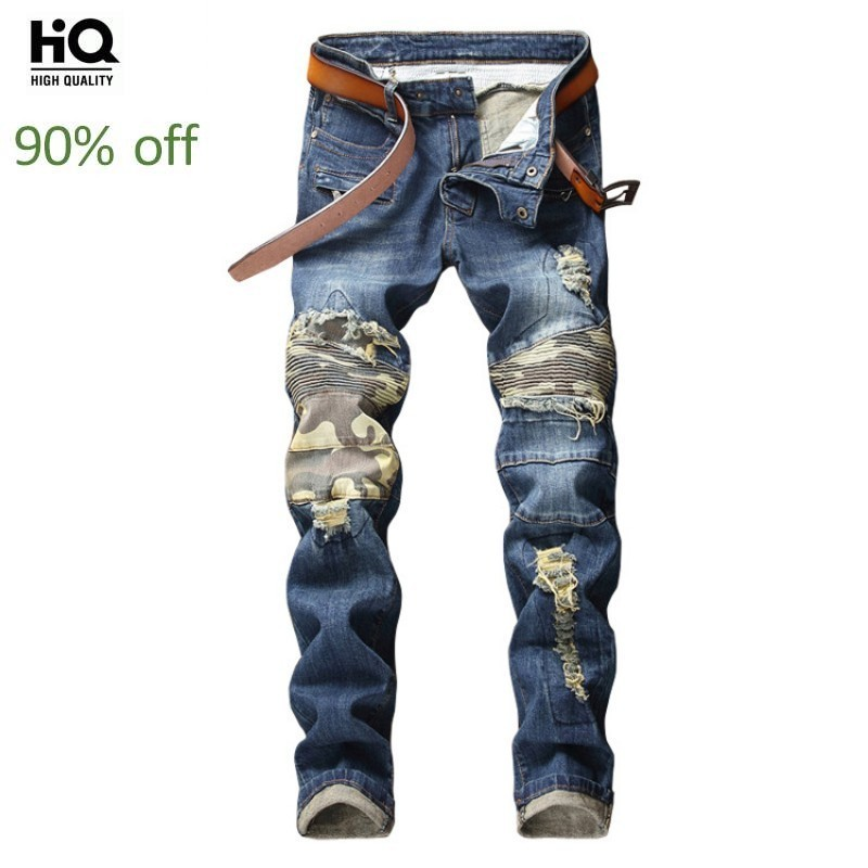 2020 New Man Fashion Spliced Hole Denim Pants Autumn Patchwork Large Size Jeans Mens Brand Streetwear Pencil Pants Male Trousers