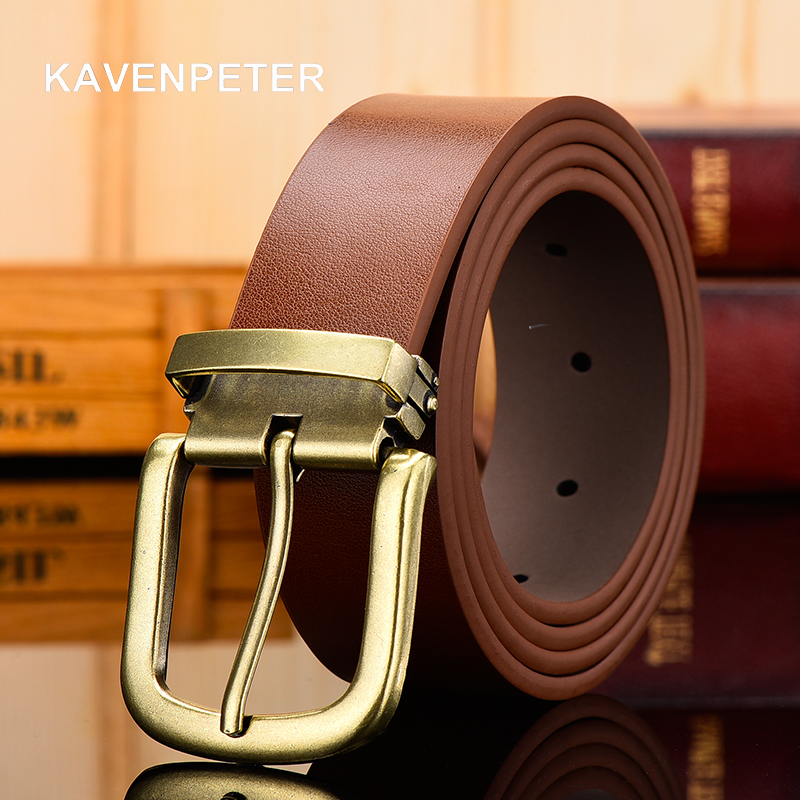 Genuine Leather For Men High Quality Antique Gold Buckle Jeans Belt Cowskin Casual Belts Business Belt Cowboy Waistband
