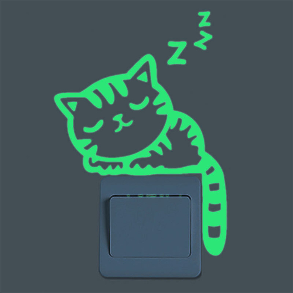 Cute Creative Kitten Cat Luminous Noctilucent Glow Switch Wall Sticker Home New Creative Comfortable Warmth Quality Exquisite