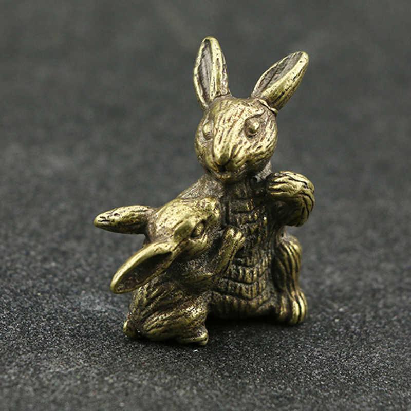 Высокое качество орнамент Винтаж Чистая латунь кролик ручной работы 1 шт. Настольный Офис украшения