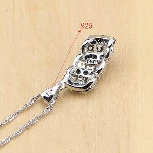 Image 5 - Prata 925 jóias preto e branco cz conjuntos de jóias para mulheres brincos/pingente/anéis/pulseira/colar conjunto