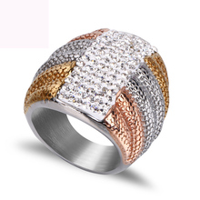 New three color plated finger ring fashion jewelry titanium steel casting crystal argil rings for women free shiping