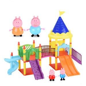 Image 1 - Peppa Schwein spielzeug George pepa schwein Familie freunde Spielzeug Reale Szene Modell Amusement park haus PVC Action figuren neue jahr schwein spielzeug