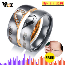 Vnox Her King His Queen Couple Wedding Band Ring Stainless Steel CZ Stone Anniversary Promise Ring for Women Men Amazing Price