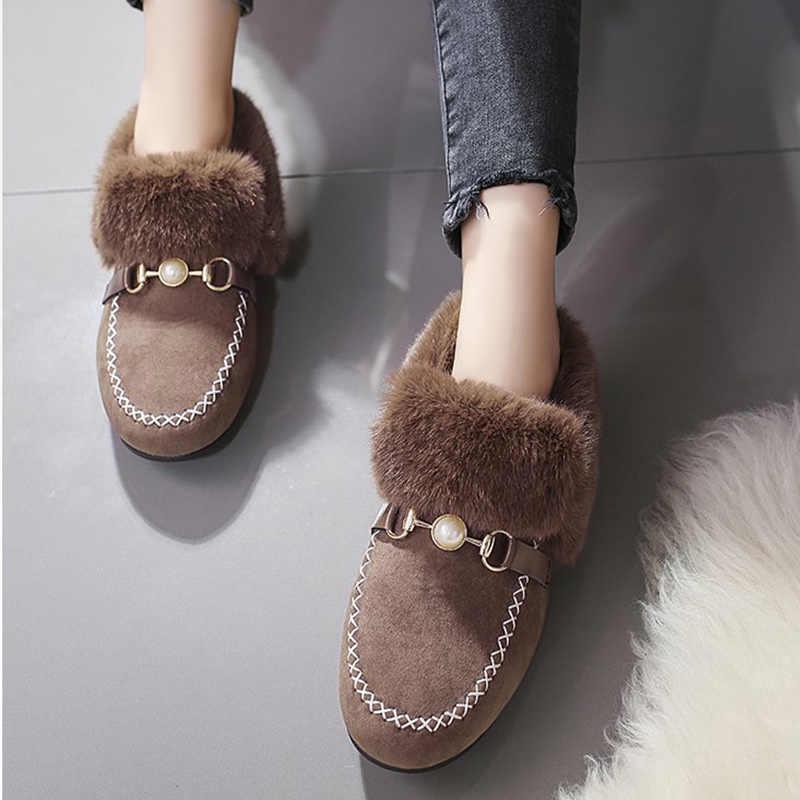 Kadın kış kayma akın inci toka askısı taklit kürk peluş dikiş ayakkabı kadın düz loafer ayakkabılar bayanlar Sasual moda yeni