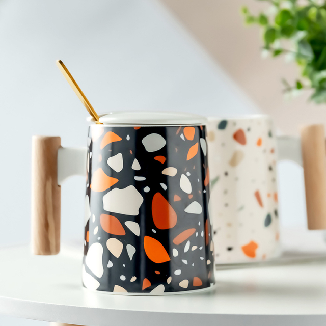 Modern Ceramic Coffee Mug Wooden Handle with Lid The Office Tv Nordic Style Mug Tazze Colazione Mug Espresso Personalized HH50MK