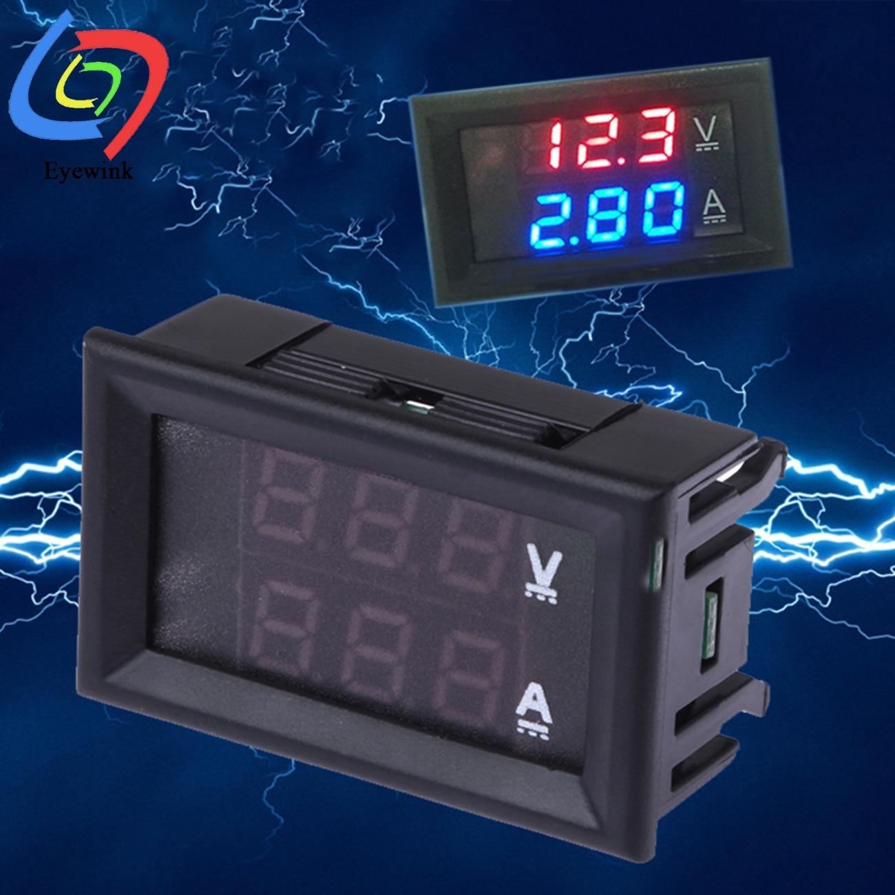 1 шт. DC 0-100 в 1A/10A/50A/100A Мини цифровой вольтметр Амперметр Красный Синий светодиодный амперметр двойной цифровой вольтметр светодиодный диспл...