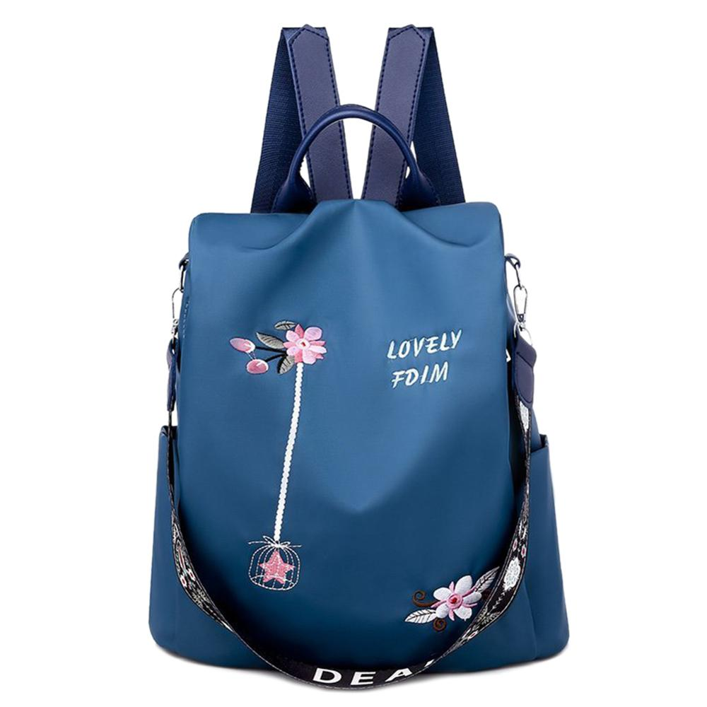 3 in 1 Embroidery Backpack Women Anti-theft Shoulder Bags Teenage Girls Casual Oxford High School Bags Simple Female Travel Bag