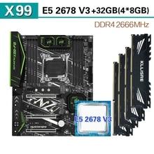 HUANANZHI X99 F8 gniazdo płyty głównej LGA 2011 3 zestaw z Xeon E5 2678 V3 4 sztuki * 8GB = 32GB 2666MHz pamięci DDR4
