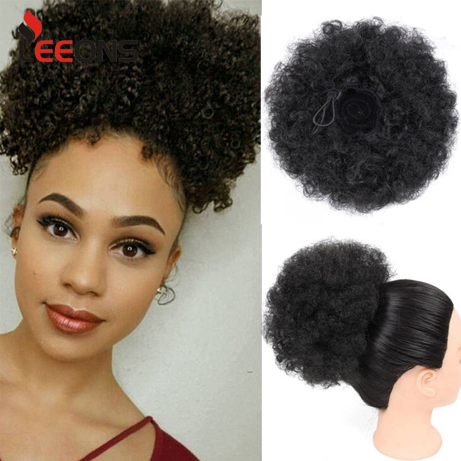Leeons Synthetic Drawstring Ponytail Puff Kinky Curly Ponytail Extensions High Ponytail Hairpieces Brown False Fake Hair Bun