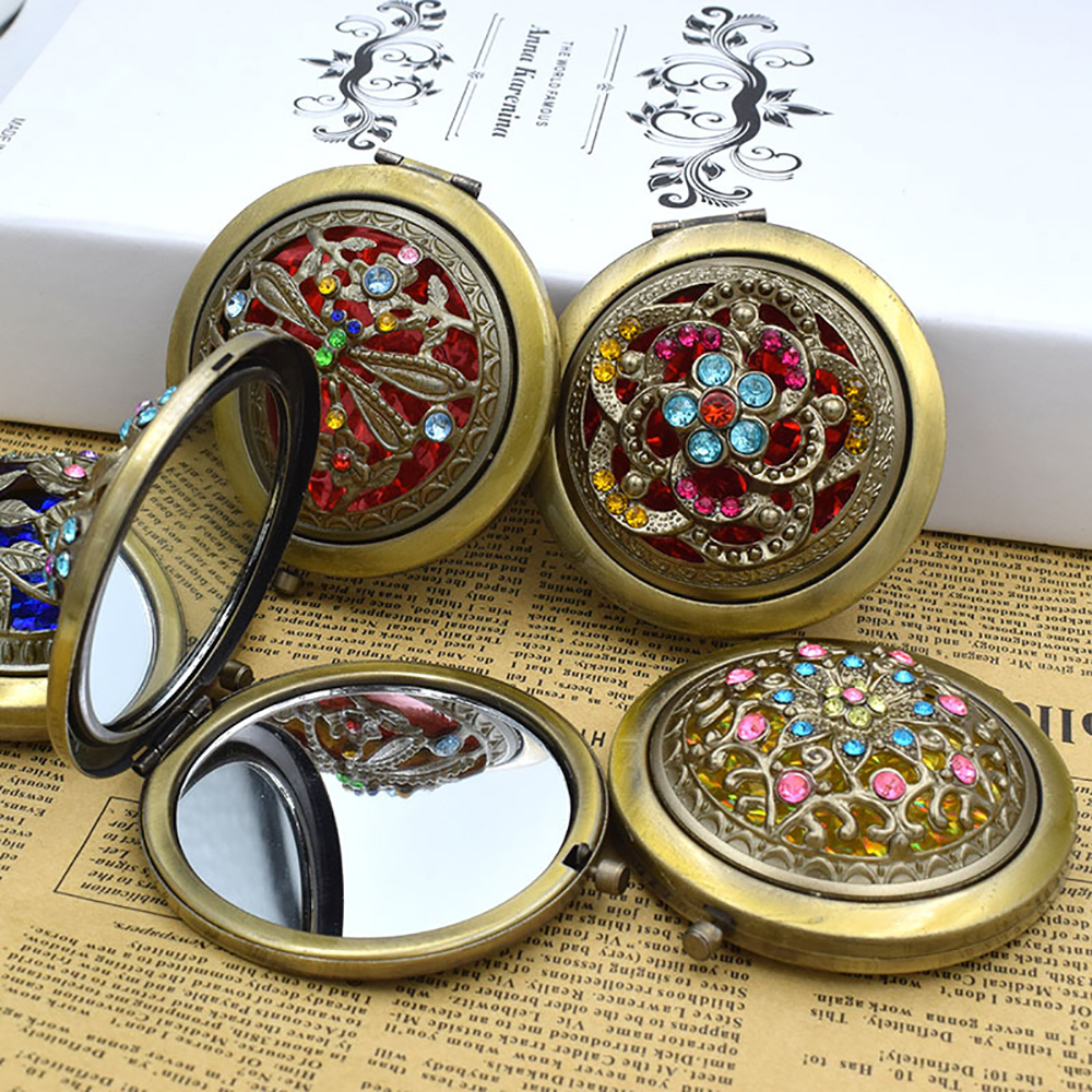 1pc Metal Bronze Makeup Mirror Foldable Hollow Magnifying Pocket Mirror Portable Double Sided Retro Style Mirror Makeup Tools