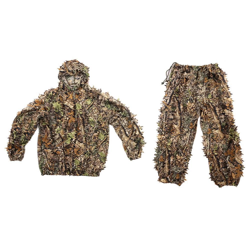 Av kıyafetleri 3D yaprak yetişkinler Ghillie Suit Woodland Camo/kamuflaj avcılık geyik ile kamuflaj giyim kapak çanta pantolon Hood