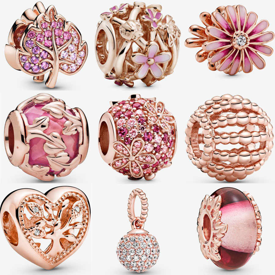 2020 Nieuwe 925 Sterling Zilver Rose Goud Roze Daisy Flower Charm Fit Pandora Armband Familie Charm Murano Glass Bead Diy sieraden