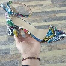 Aneikeh NEUE Sommer Farbe Leopard Print Ethnischen Peep Toe 6CM High Heels Sandalen Partei Schuhe Knöchel Schnalle Rom Damen pumpen 41 42
