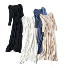 Korean summer pleated maxi dress  V-neck knit half sleeves long female rib ice silk dresses slim bodycon sweater knitted