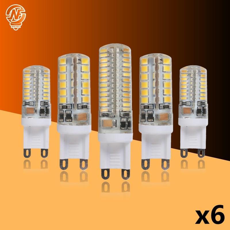 Светодиодная лампа G9 7 Вт, 9 Вт, 10 Вт, 12 Вт, 6 шт./лот, лампа-кукуруза, 220-240 В переменного тока, SMD 2835, 3014 светодиодов, светодиодная лампа, 360 градусо...
