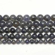 Cuentas redondas de piedra de iolita de cordierita, joyería semipreciosa auténtica de iolita, 6, 8 y 10MM, joyería de tamaño a elegir