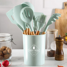 Silicone Cooking Utensils Set Non-Stick Spatula Shovel Wooden Handle Kitchenware with Storage Box 9/12Pcs Kitchen Accessories