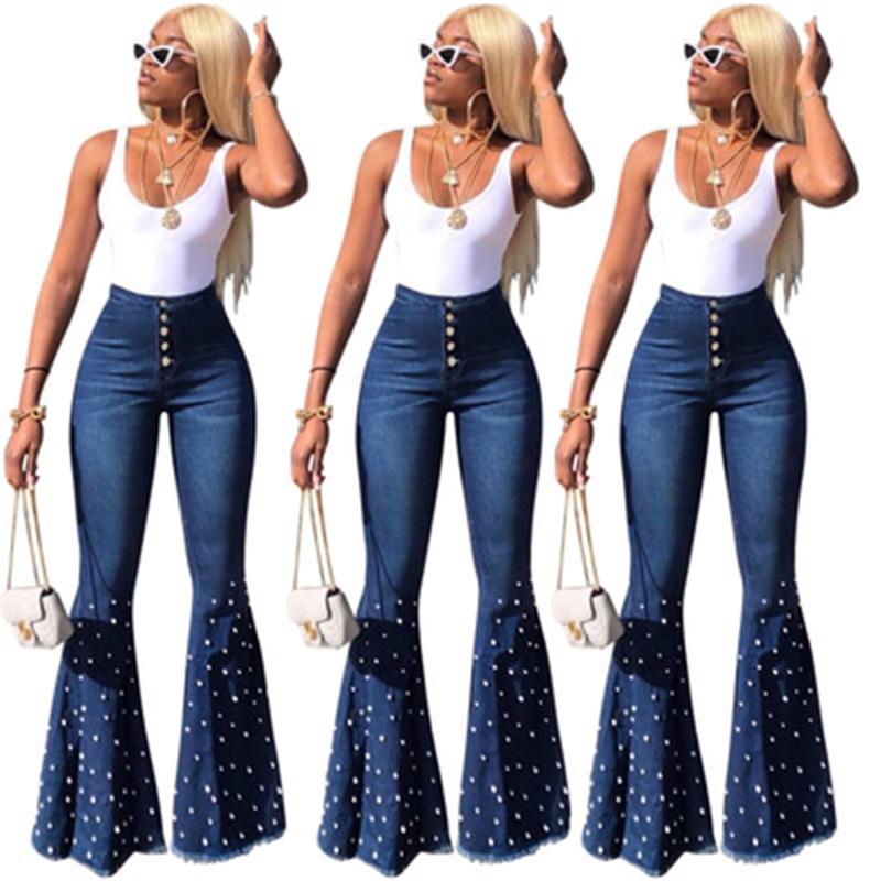 2019 High Waist Flare Jeans For Women Wide Leg Pants Vintage Mom Jeans Bell Bottom Skinny Jeans Woman Denim Large Size XL Female