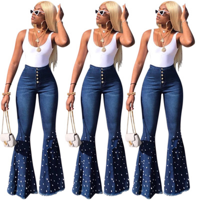 High Waist Flare Jeans For Women Vintage Mom Jeans Bell Bottom Denim Skinny Jeans Woman Plus Size Push Up Wide Leg Female Pants