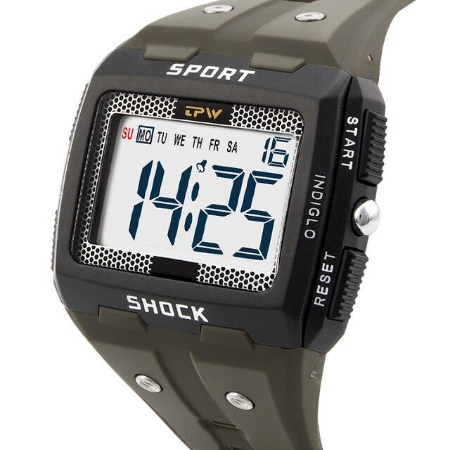 Big Numbers Men Sport Watch Digital Multifunction Alarm Chrono 5Bar Waterproof Back Light Square Screen 3