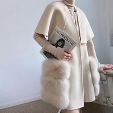 Nowy 2021 jesień zima luksusowe kobiety prawdziwa wełna jagnięca cashmere Fur Vest kamizelka stylowy długi prawdziwy lis kurtki futrzane płaszcze tanie tanio FAKUNTN long Wełniana CN (pochodzenie) Pani urząd Dla osób w wieku 18-35 lat V-neck Guzik obleczony Wisząca na ramionach