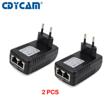2Pcs Poe Injector 48V 0.5A Poe Power Adapter Injector Voor Ip Video Surveillance Camera 802.3af Eu/Us/Au Plug