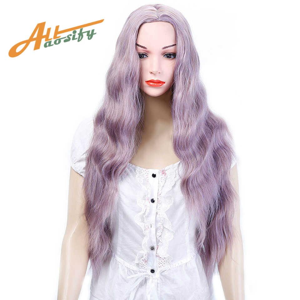 Allaosify 髪合成レースフロントウィッグディープウェーブウィッグ黒、ピンク、赤女性のためのウィッグ耐熱海自然生え際
