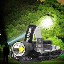 Lanterna de cabeça de 8000 lúmens, luz de led para pesca acampamento iluminação de alta potência aproximável usb farol tocha XHP 70.2