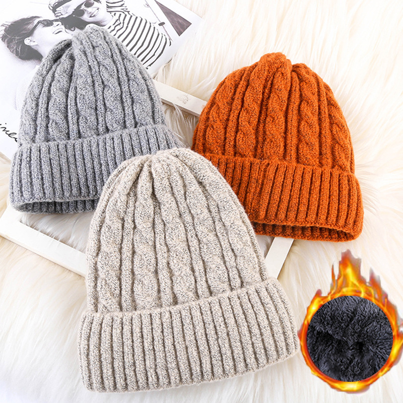 Winter hat unisex twist and velvet mohair pointed wool cap outdoor warm thickening set head wool knit hat fashion hip hop caps