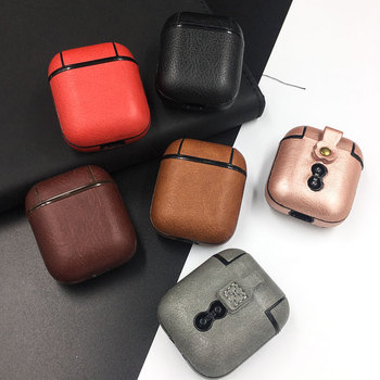 Genuine Leather Skin Earphone Case For Apple Airpods Wireless Bluetooth Hard Cover For Air Pods 1 2 Shockproof Protective Capa image