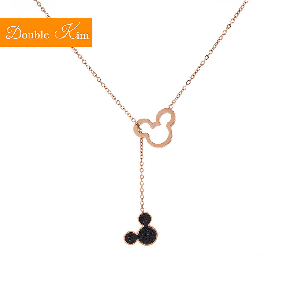 Mickey Pendant Necklace Titanium Steel Chain Necklace Inlaid Natural Zircon Rose Gold Fashion Trendy Women Jewelry Birthday Gift