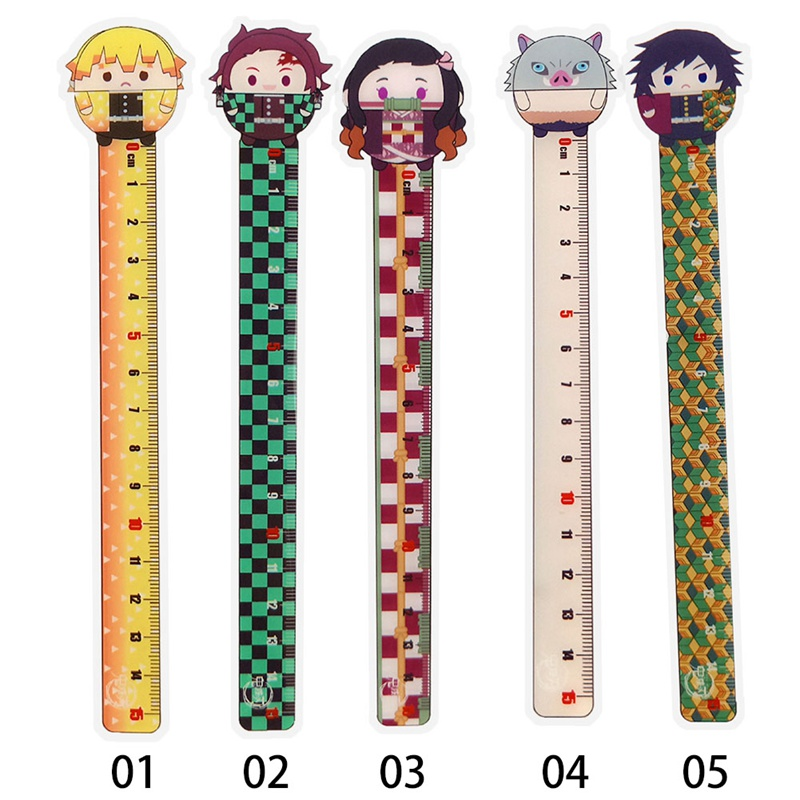 1 Pcs Anime Demon Slayer: Kimetsu No Yaiba Kamado Tanjirou Cosplay Ruler Measuring Scale Students Cartoon Measure Ruler Gift