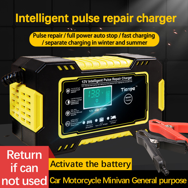 Intelligent Car Motorcycle Battery Charger 12V 6A For Auto Moto Lead Acid AGM Gel VRLA Smart Charging 6A 12V Digital LCD Display