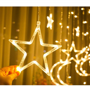 Image 2 - Remote LED Curtain Lights 12 Star 138 LED Window Icicle String Light 8 Mode Garland Christmas Lights Outdoor Decor Wedding Home