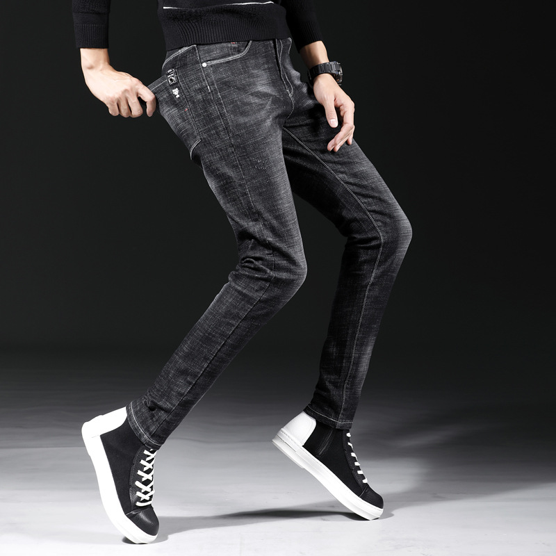 Korean-style MEN'S Jeans Spring And Autumn Youth Slim Fit Skinny Pants Men's Fashion Casual Trousers