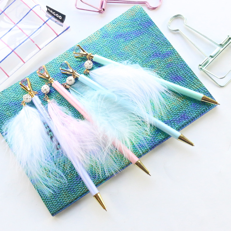 Domikee Cute Korea Macaron Candy School Student Kids Feather Plastic Mechanical Pencils Stationery Supplies 0.5mm