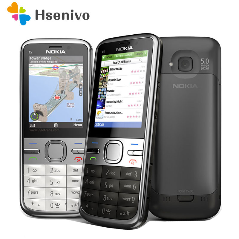 C5-00i Original Phone Unlocked Nokia C5 C5-00 Cell Phones GSM 3G 3Mp Camera FM GPS Bluetooth Refurbished Free Shipping