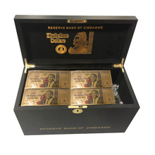 Wholesale One Hundred Trillion/Quintillion/Octillion Dollars Zimbabwe Gold Banknote In Wooden Box with Certificates 1200pcs/lot