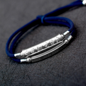 Image 2 - Handmade Braided Bracelet For Men 999 Sterling Silver Om Mani Padme Hum Engraved Bend Charm Double Layers Lucky Rope Chain