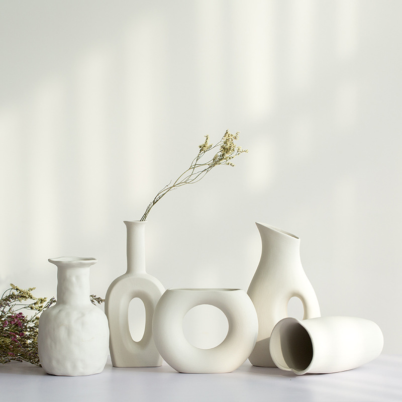 11.46US $ 6% OFF Small White Ceramic Vase for Dry Flower Home Decoration Ornaments  Home Vase Home A...