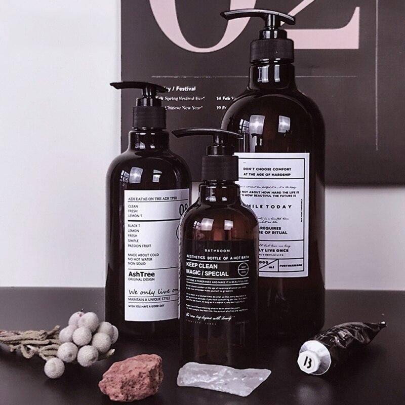 250/500ml สไตล์นอร์ดิกสีน้ำตาล Bath เติมขวดแชมพูเจลอาบน้ำขวดเจลอาบน้ำรีฟิล Storage ขวด
